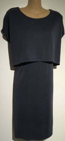 JOJO MAMAN BEBE BLUE MATERNITY & NURSING SHORT SLEEVED DRESS SIZE L 16-18